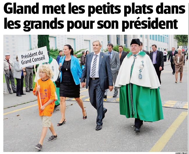 """Réception à Gland de Philippe Martinet, Président du Grand Conseil le 4 septembre (photo """"La Côte"""")"""